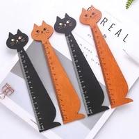 1 pc new cat straight ruler wooden kawaii tools stationery cartoon drawing gift korean office school kitten random colors