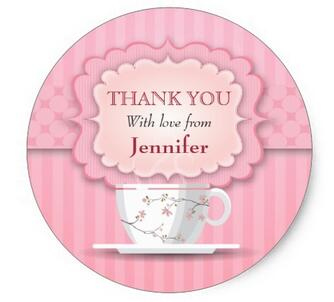 1.5inch  Pink Tea Party Thank You Large Classic Round Sticker