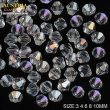 Supply 3mm 4mm 6mm 8mm 10mm wit crystal AB Kleurrijke Kristal Kralen bicone vorm Tsjechische losse Glazen kralen accessoires DIY