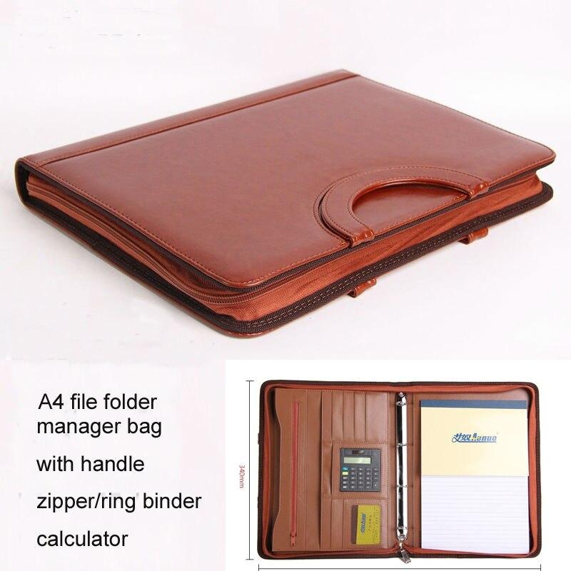 Carpeta de archivos de cuero A4 con cremallera, bolso de documentos expansible, maletín, bolso de padfolio con mango, carpeta de anillo calculadora 442B