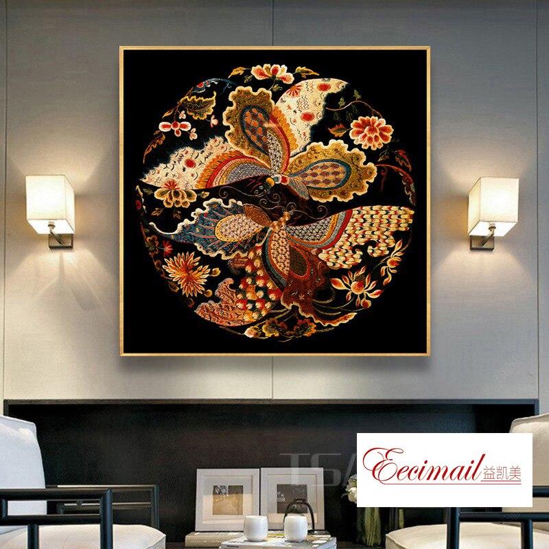 EECAMAIL Neue Chinesischen stil Klassische Phoenix Diamant Malerei Voller Diamanten Phoenix Kreuz Stich Schlafzimmer Nacht Veranda Wohnzimmer