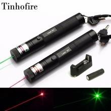 Tinhofire 레이저 301 5 mw 532nm 녹색 650nm 빨간색 레이저 포인터 펜 zoomable lazer 레이저 18650 배터리 및 충전기