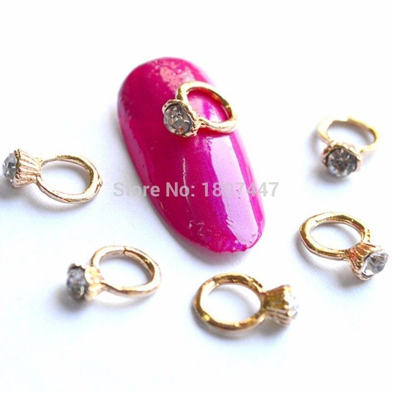 20 pcs 3D Métal Nail Art Alliage Charme Anneau avec Strass BRICOLAGE De Mode Style Populaire Nail bijoux Manucure Décorations