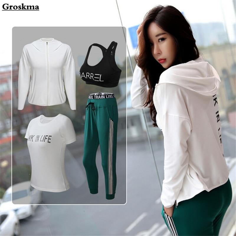 Hot sale women 4 piece set yoga fitness gym suit quick dry workout sportswear coats+bra+t shirt+pants running clothing sets