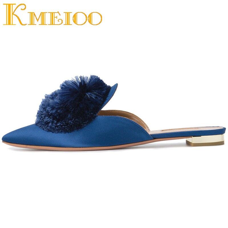 Kmeioo 2020, gran oferta, zapatos de moda para mujeres, borla, pompones, mullas, punta en punta, tacones planos, gamuza, Slip On Mule, zapatos de vestir