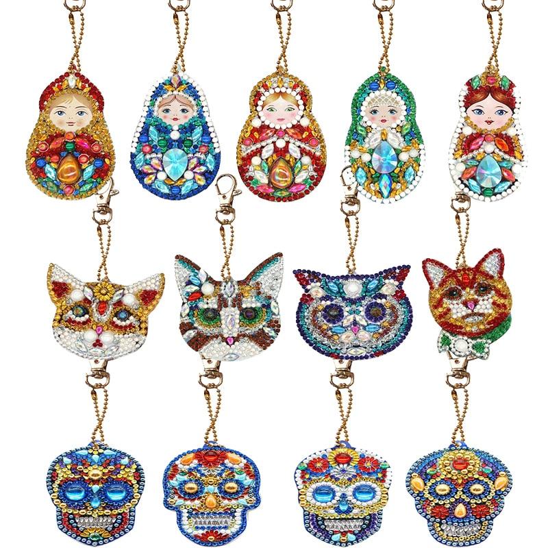 1/4/5 PCS DIY Full Drill Special Diamond Painting Keychain Christmas Tree Keychain Women Bag Pendant Keychains Jewelry Key Ring