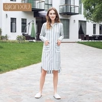 qianxiu 2017 new womens nightdress color checked shirt sells popular breathable parties 17115