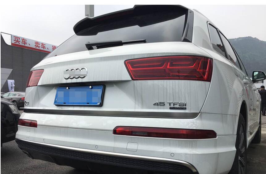 Decoración de coche, puerta trasera de acero inoxidable mate, puerta de maletero, tapa inferior, tira embellecedora, 1 Uds. Para Audi Q7 4M 2016 2017, accesorio de coche