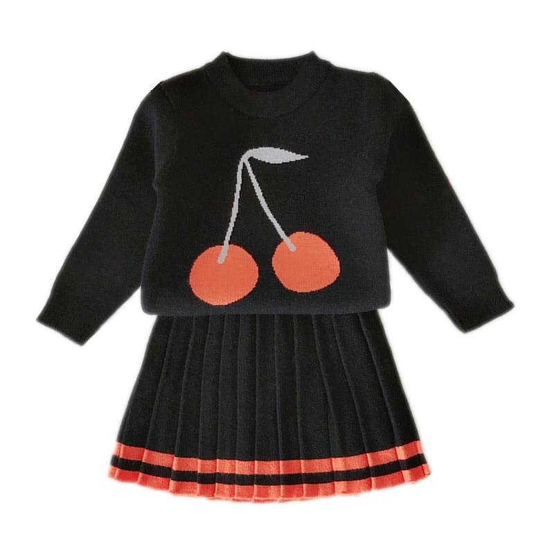 Suéter de punto con estampado de cereza para niñas y bebés de 2 a 6 años con faldas plisadas moda casual para niñas conjunto de dos piezas