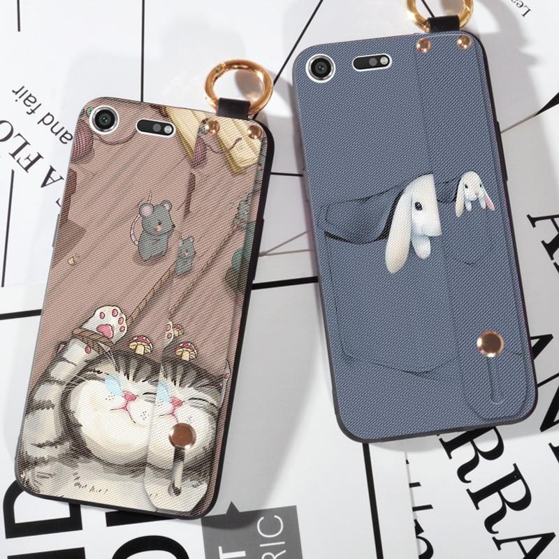 Luxury Wristband Soft Cover Case  For Sony Xperia XZ1 Compact XZ2 Cute Cat Cover Capa For Sony Xperia M5 Z5 XZ Premium