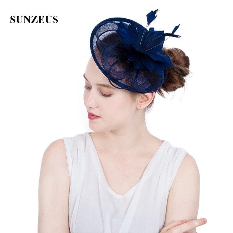 Sombrero blanco para boda con plumas de lino y flores, elegante, para...