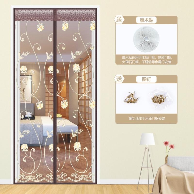 Verano bordado ventilar cortinas Anti Mosquito magnético de cortina puerta pantalla magnética volar de malla de cortinas