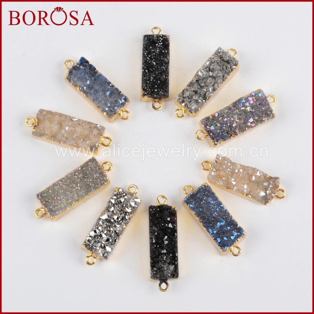 BOROSA Mix Farbe Drusy Anschlüsse, Rechteck Gold Farbe Natürliche Kristall Druzy Titan Druzy Stecker Doppel Kautionen Charme G1215