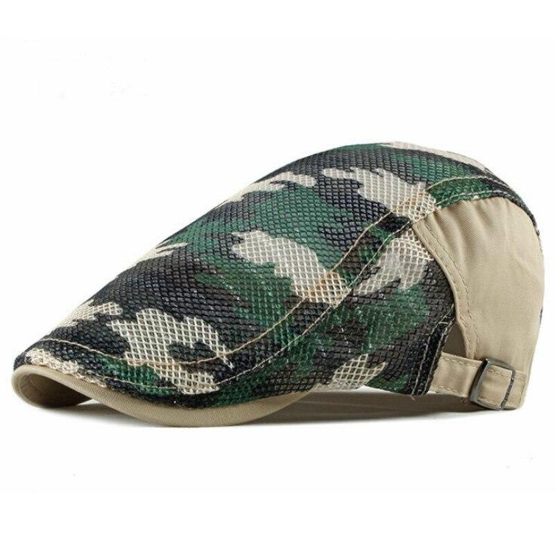 Breathable Mesh Newsboy Cap Adjustable Men Camouflage Summer Peaked Cap Vintage Camo Cabbie Ivy Flat Cap Boina Gatby Hat Beret