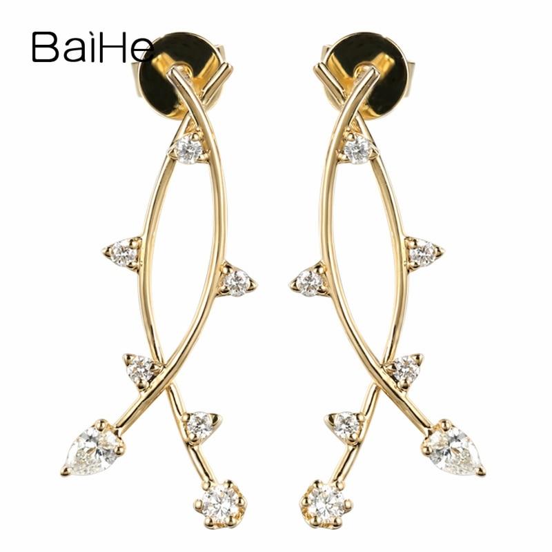 BAIHE sólido oro amarillo de 14K 0.28ct H/SI diamantes naturales redondos y pera joyería de boda regalo único pendientes de diamantes