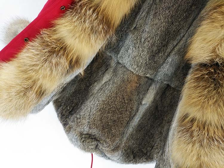 2018 Fashion women's real rabbit fur lining winter jacket coat natural fox fur collar hooded long parkas outwear DHL 5-7 Days