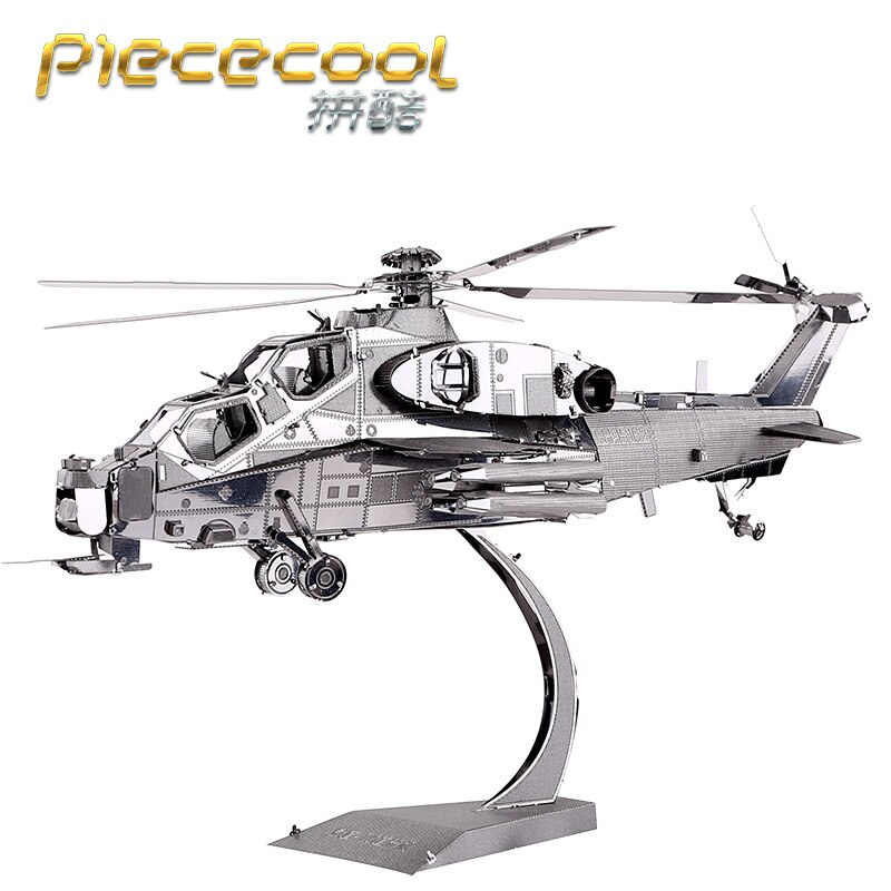 Rompecabezas de Metal 3D de Piececool WUZHI-10 helicóptero modelo DIY 3D corte láser montar rompecabezas Juguetes Decoración de escritorio regalo para niños