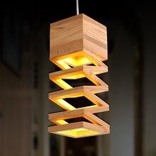 Nórdico moderno lâmpadas retro pingente luzes de madeira lâmpada restaurante bar café sala jantar led pendurado luminária para casa de madeira