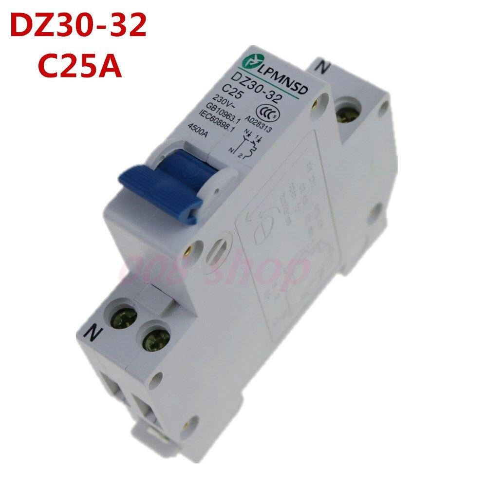 Mini disjuntor dpn mini DZ30-32 1 p + n 25a 220 v 230 v 50 hz 60 hz trilho do ruído do disjuntor