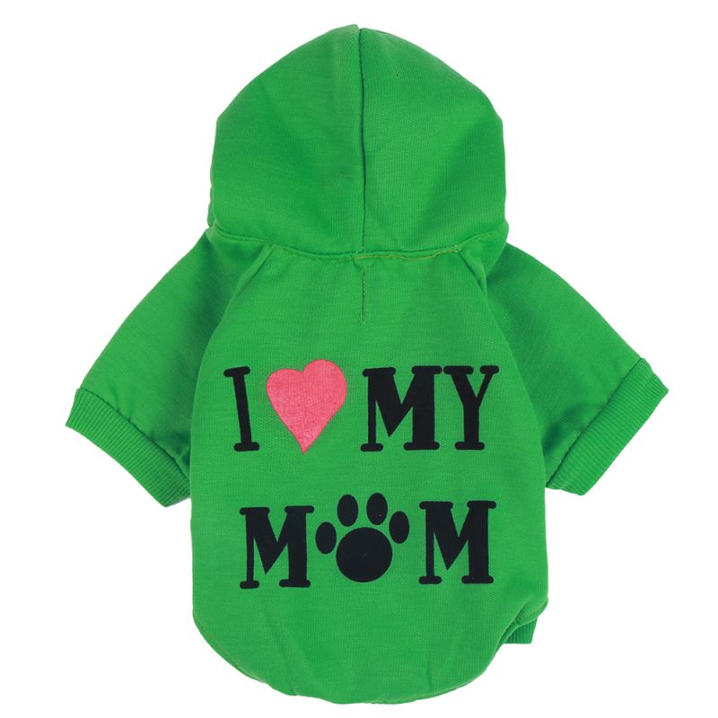 Chaqueta de abrigo mascota perro I LOVE MOM Otoño Invierno ropa para cachorros y gatos suéter ropa abrigo ropa con gorra