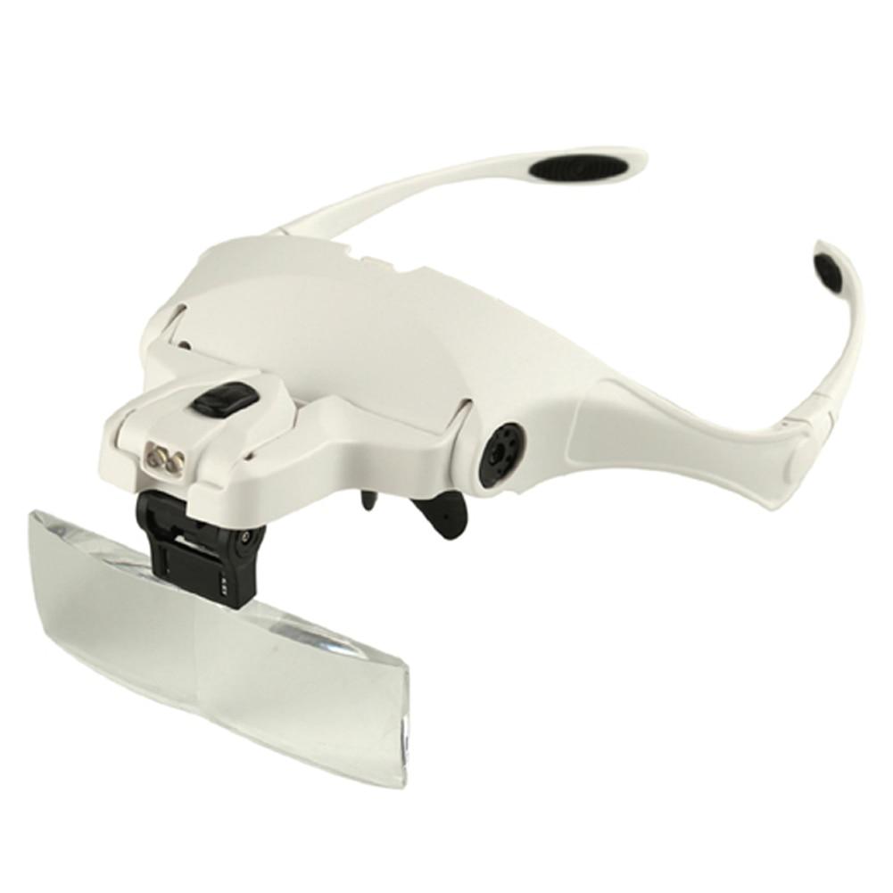 Banda para la cabeza gafas lupa 2 LED luz 1.0X, 1.5X, 2.0X, 2.5X, 3.5X gafas lupa lente óptica con luz LED