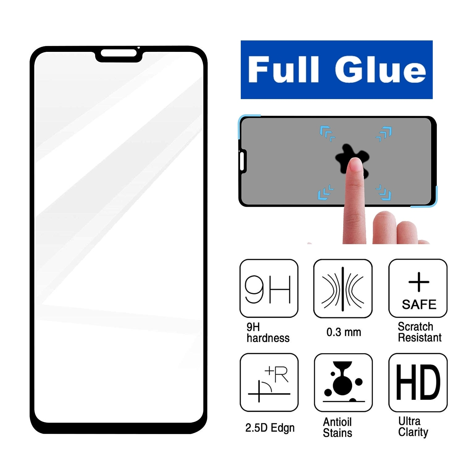 Full Screen Glue for Huawei Honor 8X Screen Protector Full Coverage Tempered Glass Film Protection F