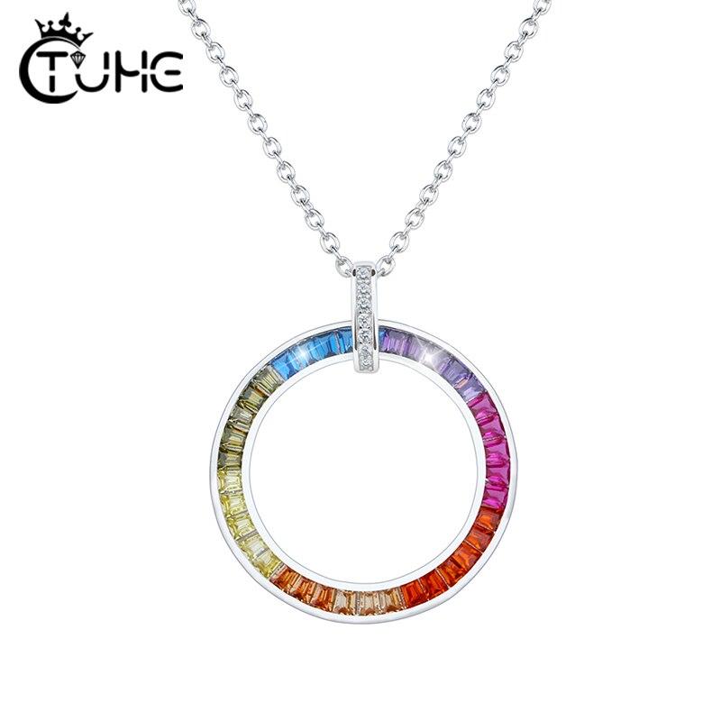 Gran círculo del arco iris cúbico colgantes de circonio para las mujeres europeo fiesta colorido joyería de plata 925 joyas-plata-pendientes de plata de collar
