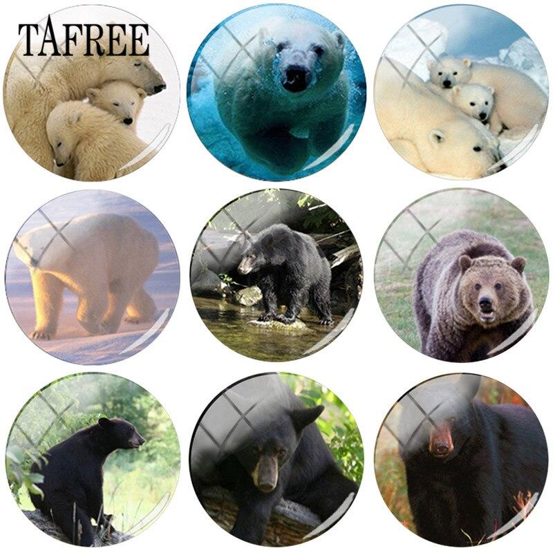 Художественная картина в виде белого медведя TAFREE, стеклянный кабошон для Рукоделия 25 мм, Купольные Подвески черного/коричневого медведя дл...