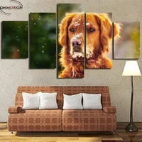 snow golden retriever animal unframed painting canvas painting home wall art pictures 5 panels modern prints poster