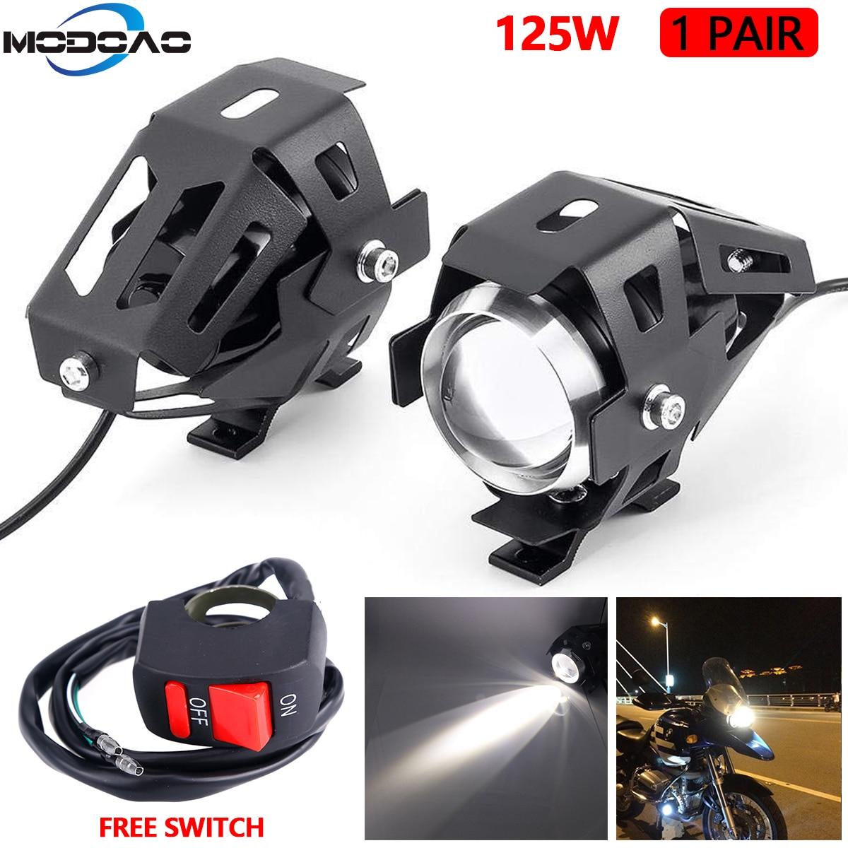 Faróis de led para motocicleta u5, 2 peças, 125w, universal, luz branca auxiliar, acessórios para moto, drl