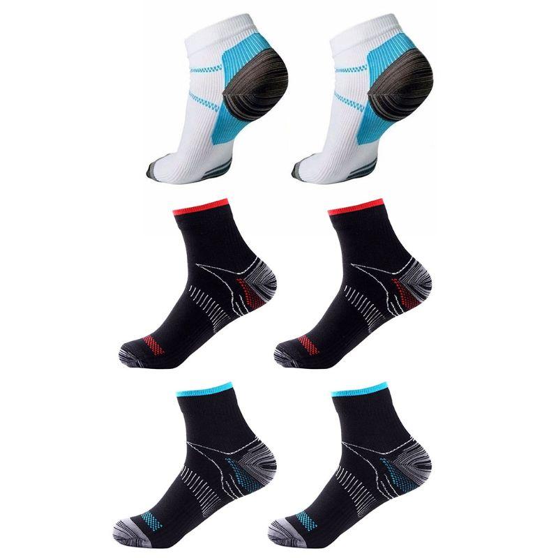 Para hombre, fascitis Plantar, compresión elástica, calcetines tobilleros cortos de corte bajo, soporte para ARCO, gimnasio atlético, deportes, Running, transpirable 1 par