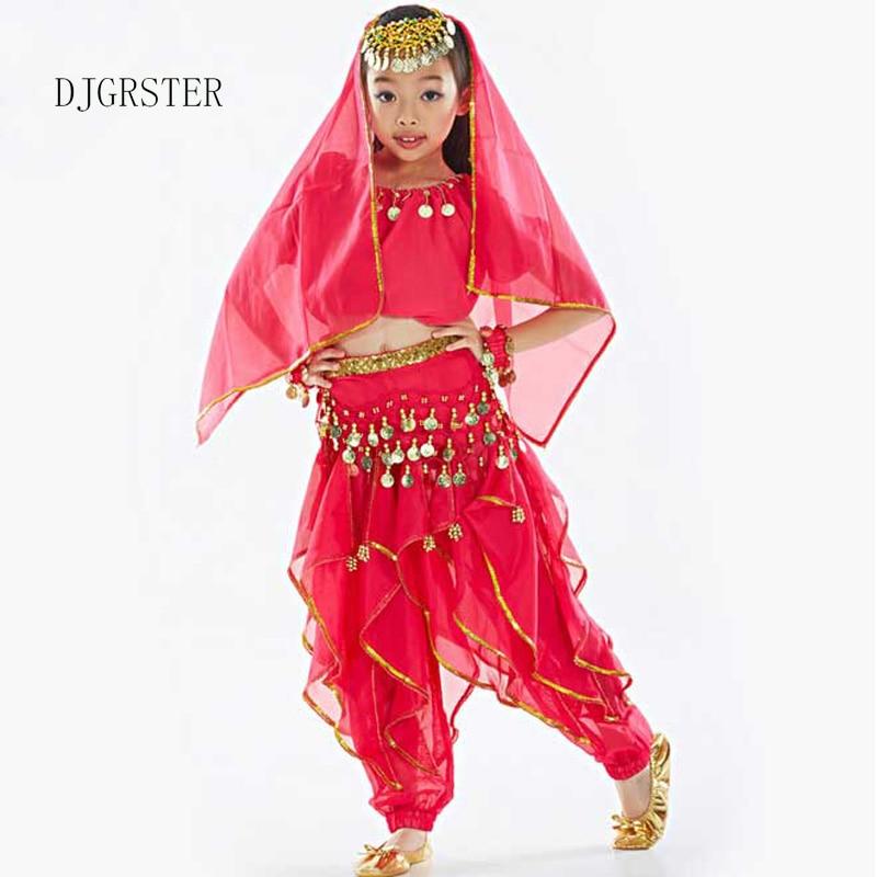 DJGRSTER 2020 новая детская индийская одежда для танца живота розовое красное/желтое/красное танцевальное платье для девочек