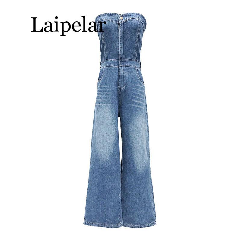 women strapless sleeveless full length blue denim jumpsuit vocation holiday beach sexy pocket trendy strapless denim jumpsuit for women