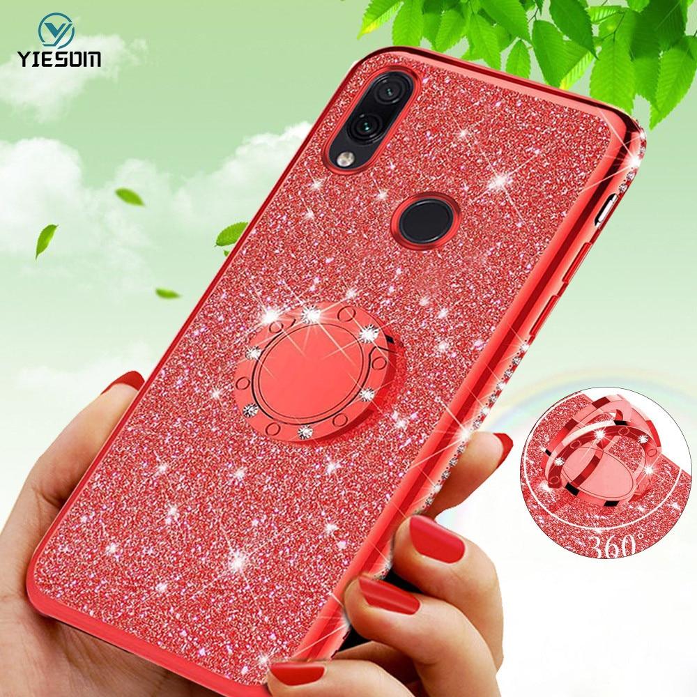 Funda brillante de diamante para Xiaomi mi Note 7 rojo mi K20 Pro 7A 7 6A 6 con soporte de anillo de coche para Xiaomi mi 9 SE mi 8 Lite A2