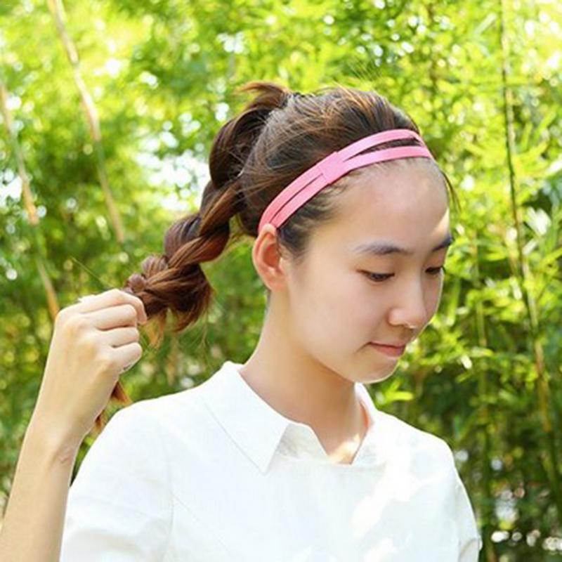 Elasticated Candy Elastic Hairband Yoga Headband Double Antiskid Running Headband Sports Headband Anti-slip Elastic Sweatband