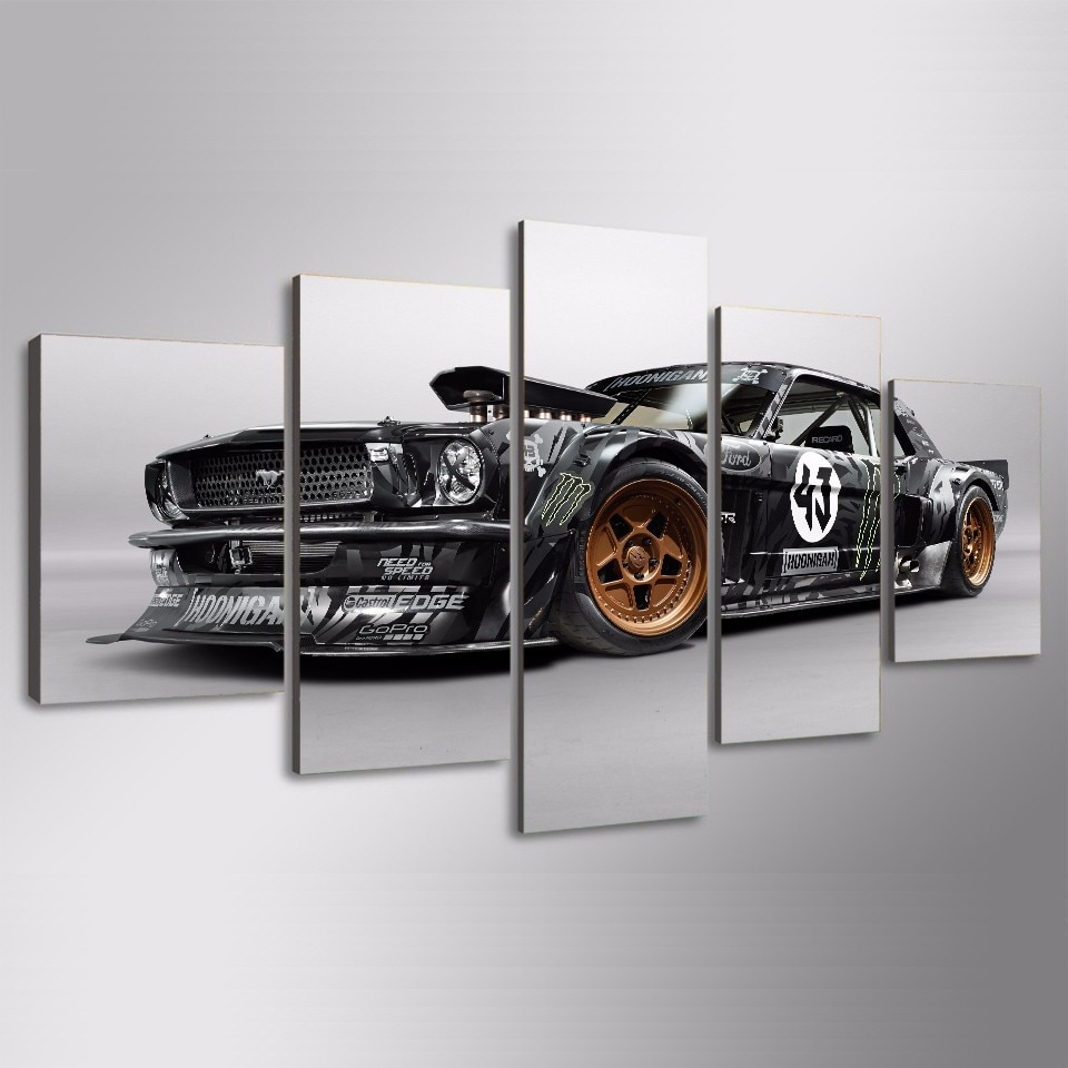 Quadro Poster Modern Home Decor Wall Art Pictures For Living sala de Pintura Da Lona 5 Peças Ford Mustang Rtr Carro HD impresso
