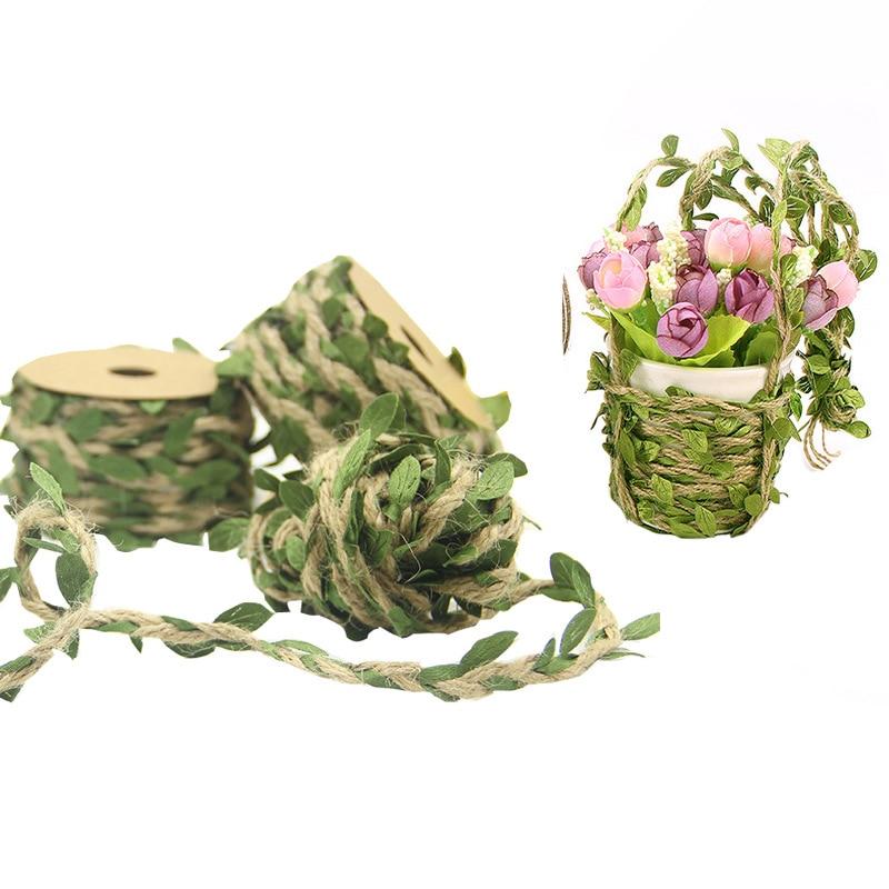 Cuerda de cáñamo de hoja de imitación de 5M y 10M DIY, accesorios de decoración de manualidad casera para fiestas de bodas, cuerdas para embalar y colgar etiquetas