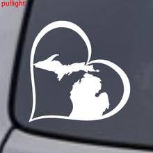 MICHIGAN HEART Vinyl Decal Sticker Car Window Wall Bumper Love Great Lakes State