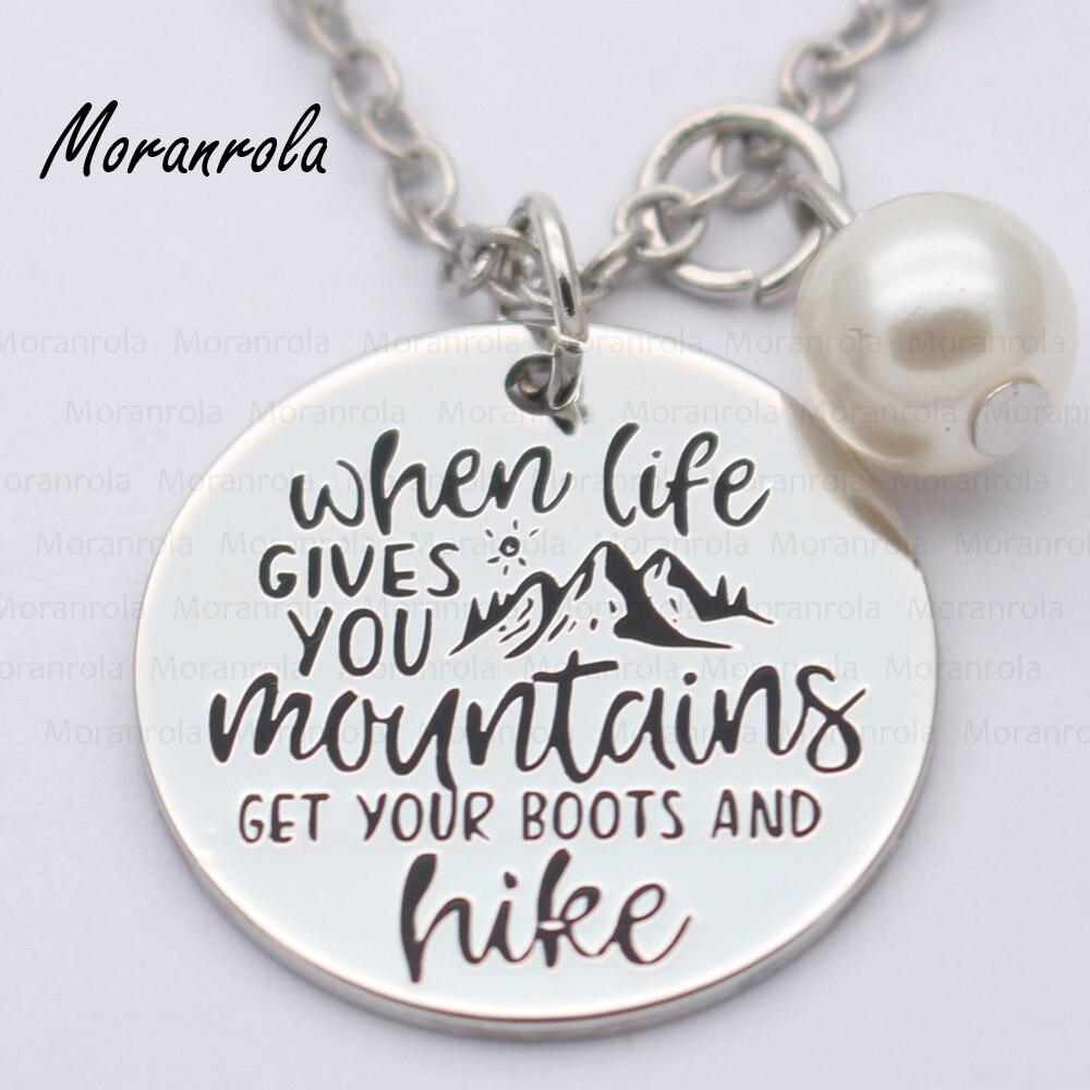 """Nuevo arried """"cuando la vida le da a las montañas obtener sus botas y caminata"""" collar de cobre llavero, encanto inspirador joyería de senderismo"""