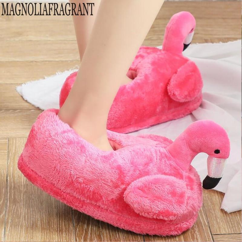Encantadoras Zapatillas de casa de invierno, zapatos Chausson para mujer, zapatillas de flamenco, pantuflas, unicornios, zapatillas para mujer, zapatos cálidos de algodón hy24