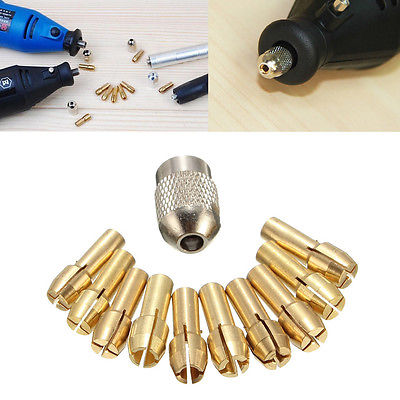 10 шт 0,5-3,2 мм латунные сверлильные патроны коллетные коронки 4,3 мм хвостовик для вращающегося инструмента Dremel-Y103