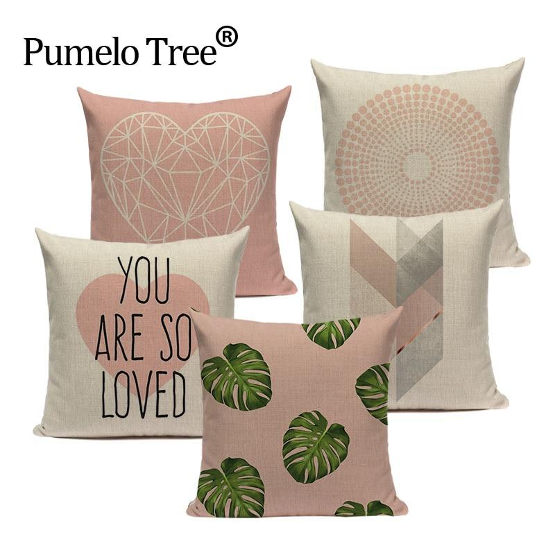 Rosa nórdico geométrico funda de cojín tropical hoja de palma lanzar tejido de lino para funda de almohada funda de cojín para sofá cama decorativa funda de almohada de corazón