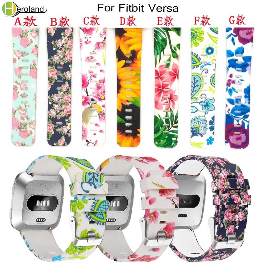 floral printed strap for fitbit versa band silicone flower bracelet fitbit versa replacement bands bracelet wristband watchbands new Wrist Watch Strap band bracelet For Fitbit Versa soft silicone Wristband for Fitbit Versa Lite Wrist Strap Smart WatchBands