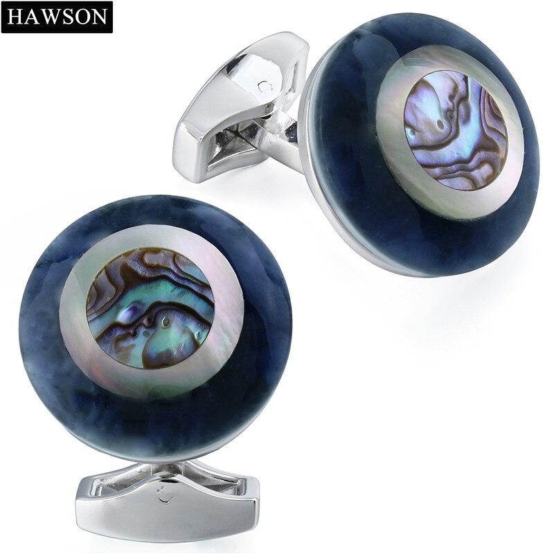 Gemelos de piedra Natural de moda para hombres botones de puños de camisa francesa accesorios de la camisa de novio de abogado con caja