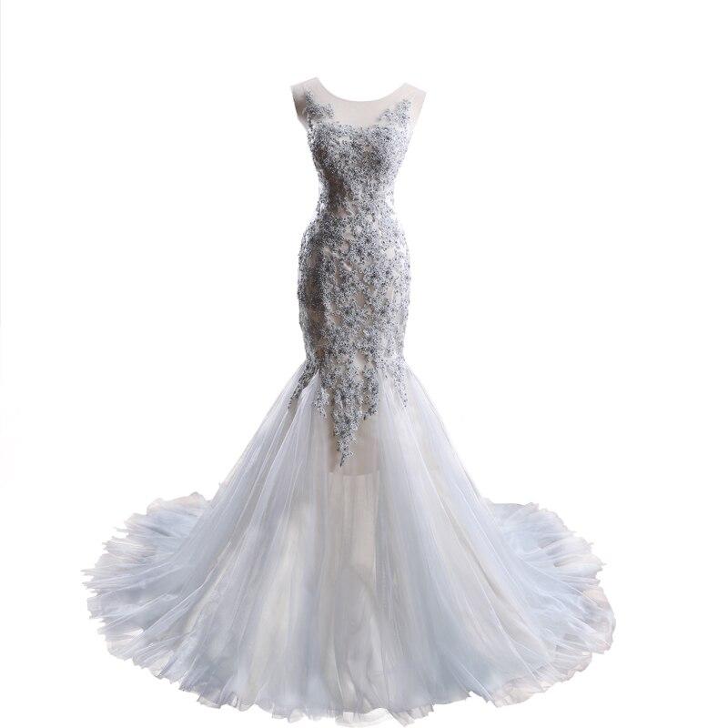 Gris plata vestidos de novia 2017 de la sirena vestidos de novia vestidos de noiva encargo hacer el envío libre