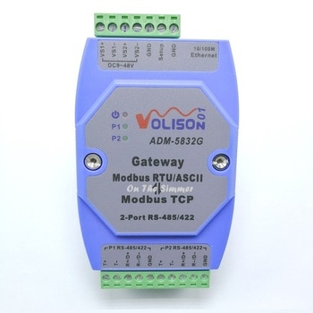 Puerta de enlace MODBUS profesional nivel Industrial 2 puertos rs485/422 Modbus RTU a Modbus TCP