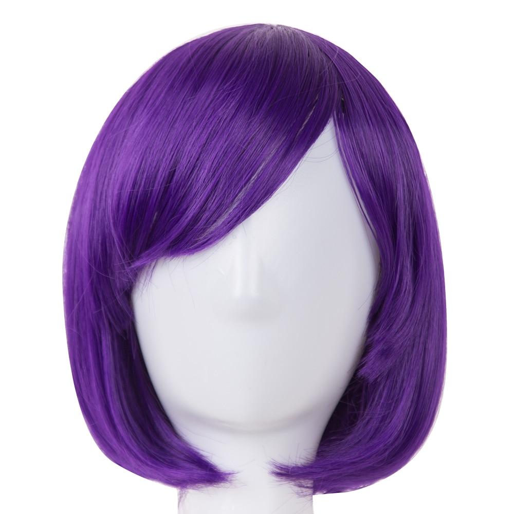 Fei-show peluca Bob, flequillo oblicuo, pelucas ondulado corto, púrpura, rojo, azul, naranja, Blanco, Negro, pelo sintético, resistente al calor, peluca para mujer