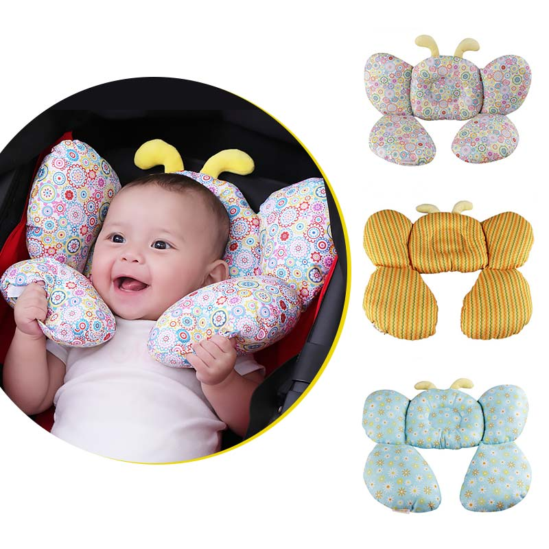 Almohada de algodón en forma de abeja para dar forma al bebé, equipo para cochecito, almohada en forma de U, accesorios decorativos para el cuidado del cuello del bebé