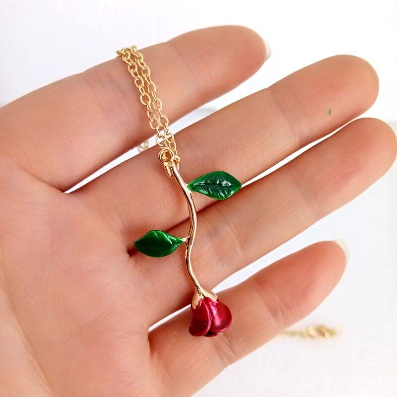 Hzew colores rosa colgante collar rojo negro rosa azul Rosa collar regalo collares