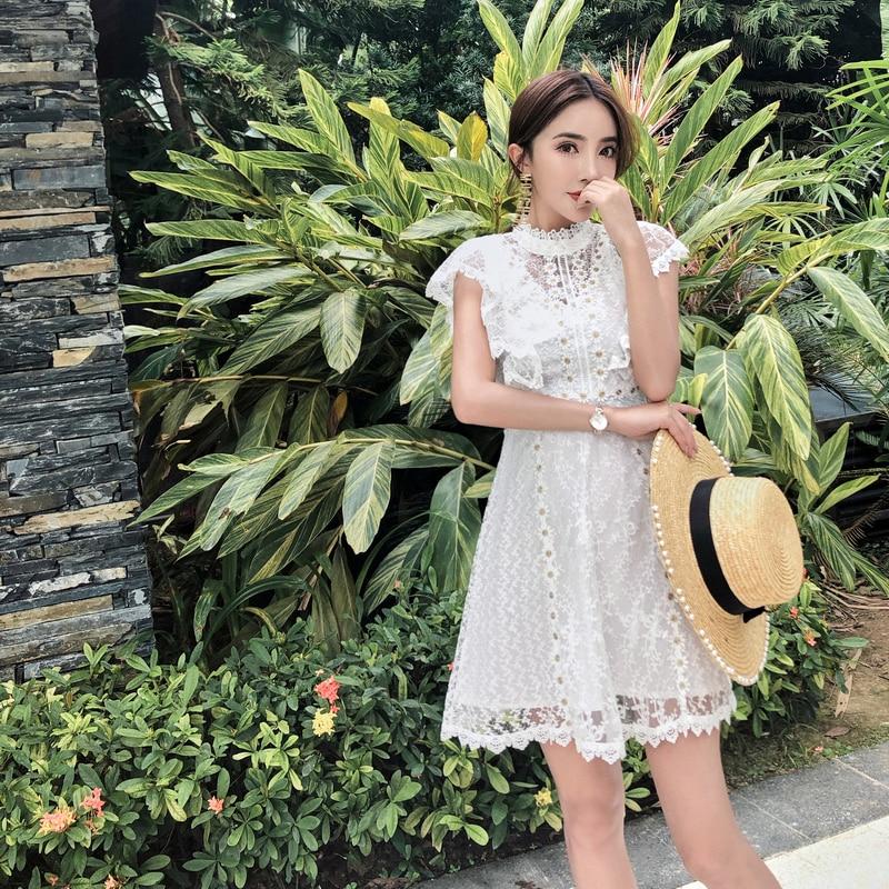 2018 high-end women new fashion summer elegant slim bodycon sexy beach casual party vestidos runway lace white mini dress